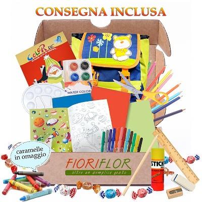pacco regalo per bambini artisti con kit zainetto